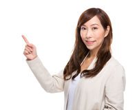 Woman finger up Stock Photo