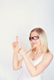 Woman with finger up Royalty Free Stock Images