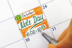 Woman fingers with pen writing reminder Mole Day in calendar Stock Images