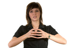 Woman with fingers touching Stock Image