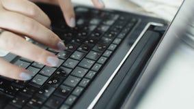 Woman Fingers Typing On Laptop. Black Keys stock footage