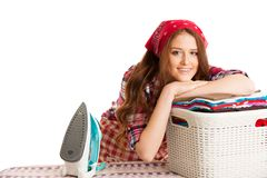 Woman finish ironing and she is very happy isolated over white b. Ackground Stock Photography