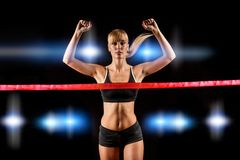 Woman finishing through red tape Stock Images