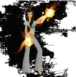 Woman with fire Stock Image