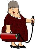 Woman With A Fire Extinguisher. This illustration depicts a woman holding a small fire extinguisher Stock Photography