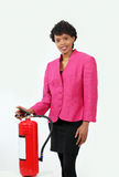 Woman with fire extinguisher Royalty Free Stock Image