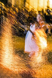 Woman in fire show Royalty Free Stock Photos