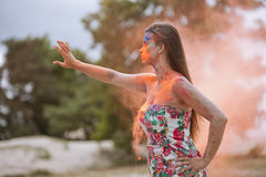 Woman in fire Royalty Free Stock Images