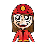 Woman firefighter avatar character icon Royalty Free Stock Photo
