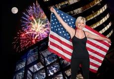 Woman at Fireworks at Full Moon Royalty Free Stock Photos