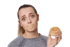 Woman with first aid plaster over mouth Royalty Free Stock Photos