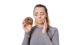Woman with first aid plaster over mouth Royalty Free Stock Photo