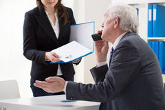 Woman during first job interview royalty free stock images
