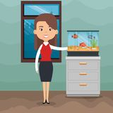 Woman with fish in aquarium. Vector illustration design Royalty Free Stock Photography