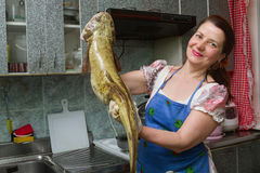 Woman with fish Stock Images