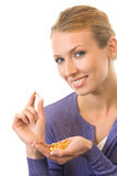 Woman with fish oil capsule Stock Image