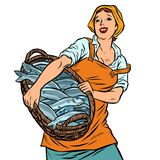 Woman fisherman with a basket of fish. oceanic herring and cod stock illustration