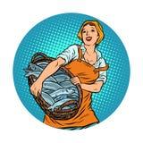 Woman fisherman fish auction vector illustration