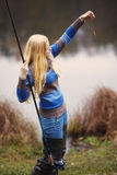 Woman Fishing Royalty Free Stock Photo