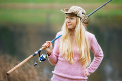 Woman Fishing Royalty Free Stock Image