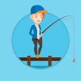 Woman fishing on jetty vector illustration. Stock Photos