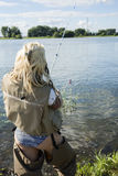 Woman fishing Royalty Free Stock Photography