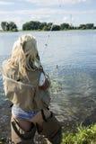 Woman fishing Royalty Free Stock Photography