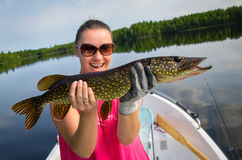 Woman fishing pike Royalty Free Stock Photos