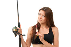 Woman Fishing pole rod with reel Stock Photo