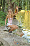 Woman fishing portrait Royalty Free Stock Photos