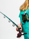 Woman with fishing rod, spinning equipment. Fishery, spinning equipment, angling sport and activity concept. Woman with fishing rod stock photo