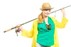 Woman with fishing rod, spinning equipment royalty free stock photos