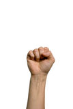 Woman fist. A closed fist of a woman in a white background Stock Image