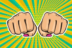 Girl woman power fist pop art style. Woman fist - Girl power strong vector illustration. Cartoon pop art style halftone background. Female rights industry Royalty Free Stock Photos