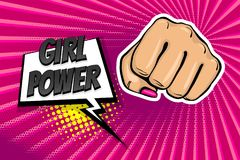 Girl woman power fist pop art style. Woman fist - Girl power strong vector illustration. Cartoon pop art style halftone background. Female rights industry royalty free illustration