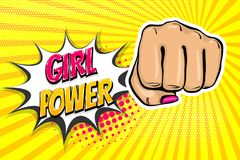 Girl woman power fist pop art style. Woman fist - Girl power strong vector illustration. Cartoon pop art style halftone background. Female rights industry Stock Photography
