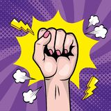 Woman Fist Hand Up With Star And Thunders Stock Photo