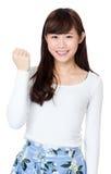 Woman fist pumped celebrating success royalty free stock photos