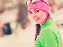 Woman fit sport model training outdoor on cold day Royalty Free Stock Photography