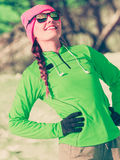 Woman fit sport model training outdoor on cold day Royalty Free Stock Photo