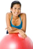 Woman With Fitball Royalty Free Stock Photo