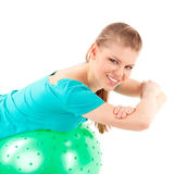 Woman fitball exercise Royalty Free Stock Photo