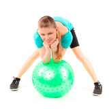 Woman fitball exercise Royalty Free Stock Image