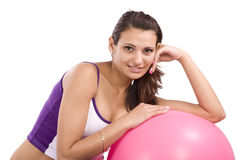 Woman with fitness ball Stock Images