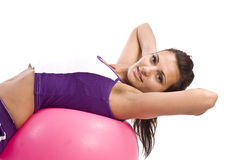 Woman with fitness ball Royalty Free Stock Photos