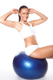 Woman with fitness ball stock photo
