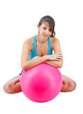 Woman with fitness ball Royalty Free Stock Images