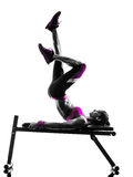 Woman fitness  bench press crunches exercises silhouette Royalty Free Stock Photos