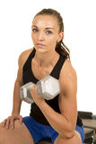 Woman fitness black tank top isolation curl left looking Royalty Free Stock Photo