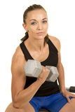 Woman fitness black tank top isolation curl looking Stock Photos